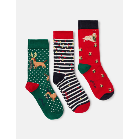 Joules Ladies Cracking 3 Pack Christmas Socks