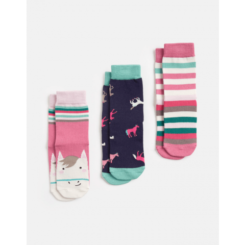 Joules Girls Brilliant Bamboo 3 Pack Character Socks